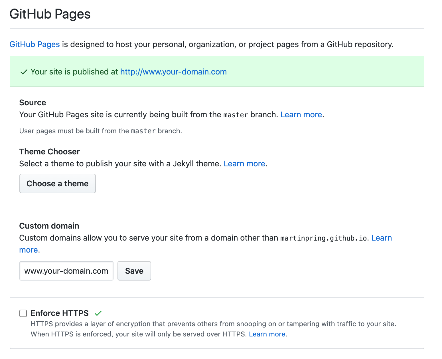 Github repo settings - Github Pages section - HTTP